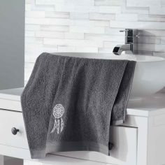 Talisman 100% Cotton Embroidered Towel - Charcoal Grey