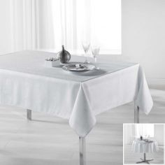 Palacio Silver Printed Tablecloth - White