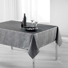 Palacio Silver Printed Tablecloth - Charcoal Grey