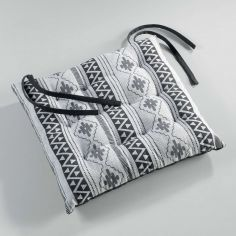 Inca 100% Cotton Quilted Seat Pad - White & Black