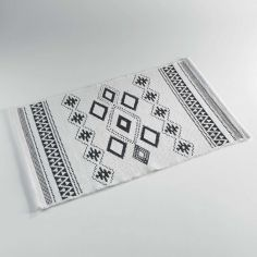 Inca 100% Cotton Jacquard Mat / Rug - White & Black