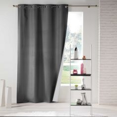Icemount Thermal Insulating Blackout Eyelet Curtain Panel - Charcoal Grey
