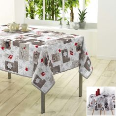 Giboulee Christmas Photoprint Tablecloth - Natural & Red