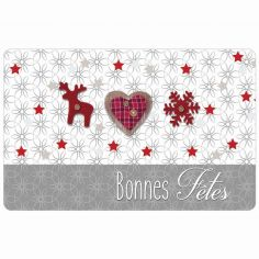 Giboulee Christmas Photoprint Tablemat - Natural & Red