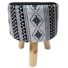 Inca Printed Round Foot Stool - White & Black
