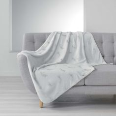 Sensalia Feather Print Soft Fleece Throw - White / Silver