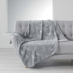 Sensalia Feather Print Soft Fleece Throw - Grey / Silver
