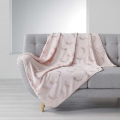 Sensalia Feather Print Soft Fleece Throw - Pink / Gold Pink