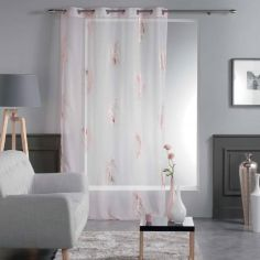 Sensalia Feather Print Eyelet Voile Curtain Panel - Pink / Gold Pink
