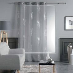 Sensalia Feather Print Eyelet Voile Curtain Panel - Charcoal Grey / Gold Pink