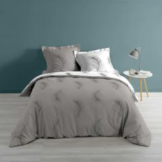 Sensalia Feather Print 100% Cotton Duvet Cover Set - Grey / Silver