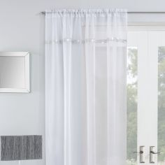 Ibiza Diamante Slot Top Voile Curtain Panel - White