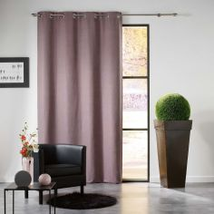 Mezzo Plain Chenille Blackout Eyelet Curtain Panel - Taupe
