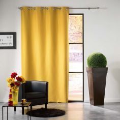 Mezzo Plain Chenille Blackout Eyelet Curtain Panel - Yellow