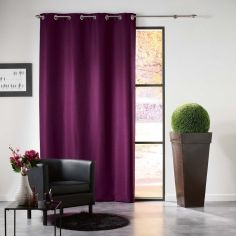 Mezzo Plain Chenille Blackout Eyelet Curtain Panel - Plum Purple