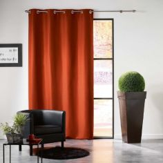 Mezzo Plain Chenille Blackout Eyelet Curtain Panel - Brick Orange