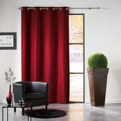 Mezzo Plain Chenille Blackout Eyelet Curtain Panel - Burgundy Red