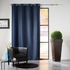 Mezzo Plain Chenille Blackout Eyelet Curtain Panel - Indigo Blue