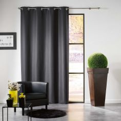 Mezzo Plain Chenille Blackout Eyelet Curtain Panel - Charcoal Grey