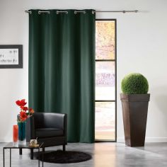 Mezzo Plain Chenille Blackout Eyelet Curtain Panel - Green