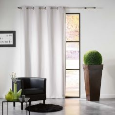 Mezzo Plain Chenille Blackout Eyelet Curtain Panel - Pearl Grey