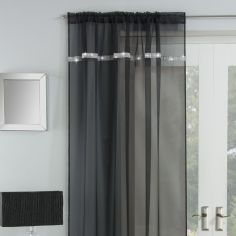 Ibiza Diamante Slot Top Voile Curtain Panel - Black