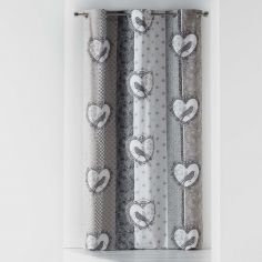 Love Birds 100% Cotton Eyelet Curtain Panel - Grey & Natural