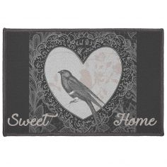 Love Birds Decorative Door Mat - Grey & Natural