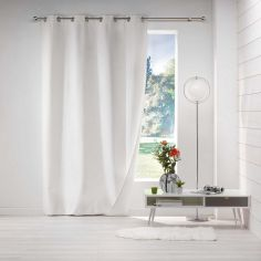 Avoriaz Jacquard Fleece Eyelet Curtain Panel - White