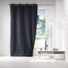 Avoriaz Jacquard Fleece Eyelet Curtain Panel - Navy Blue