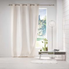 Avoriaz Jacquard Fleece Eyelet Curtain Panel - Cream
