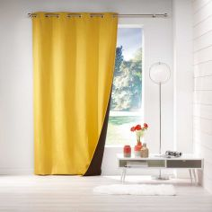 Avoriaz Jacquard Fleece Eyelet Curtain Panel - Yellow
