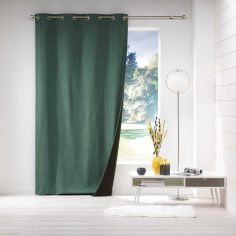 Avoriaz Jacquard Fleece Eyelet Curtain Panel - Green