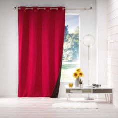 Avoriaz Jacquard Fleece Eyelet Curtain Panel - Red
