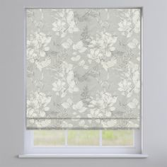 Scribble Grey Floral Roman Blind
