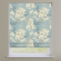 Scribble Wedgewood Blue Floral Roman Blind