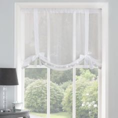 Ibiza Diamante Voile Tie Blind - White
