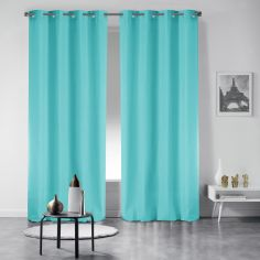 Pair of Essentiel Plain Curtains with Plastic Eyelets - Mint Blue