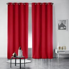 Pair of Essentiel Plain Curtains with Plastic Eyelets - Red