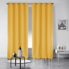 Pair of Essentiel Plain Curtains with Plastic Eyelets - Yellow