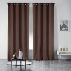 Pair of Essentiel Plain Curtains with Plastic Eyelets - Chocolate Brown