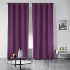 Pair of Essentiel Plain Curtains with Plastic Eyelets - Purple