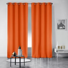 Pair of Essentiel Plain Curtains with Plastic Eyelets - Brick Orange