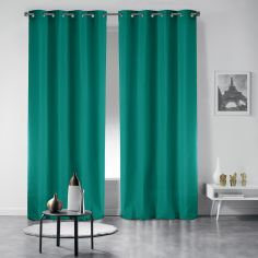 Pair of Essentiel Plain Curtains with Plastic Eyelets - Emerald Green