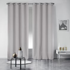 Pair of Essentiel Plain Curtains with Metal Eyelets - Silver Grey