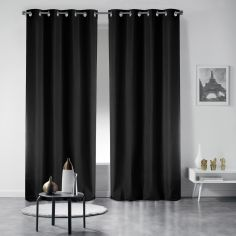 Pair of Essentiel Plain Curtains with Metal Eyelets - Black