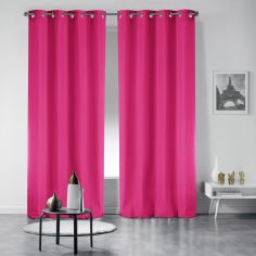 Pair of Essentiel Plain Curtains with Metal Eyelets - Fuchsia Pink