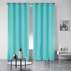 Pair of Essentiel Plain Curtains with Metal Eyelets - Mint Blue
