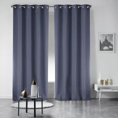 Pair of Essentiel Plain Curtains with Metal Eyelets - Grey