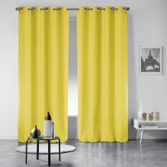 Pair of Essentiel Plain Curtains with Metal Eyelets - Lime Green